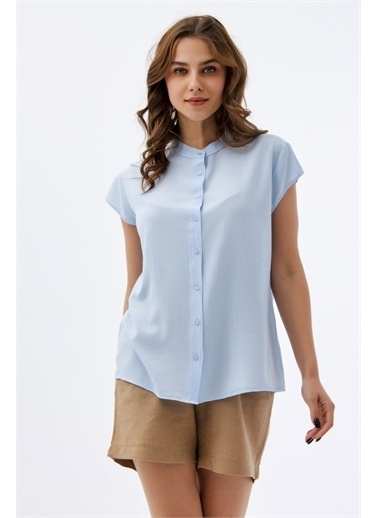 Pattaya Pattaya Kadın Hakim Yaka Kısa Kollu Gömlek P21S110-1173 Renkli